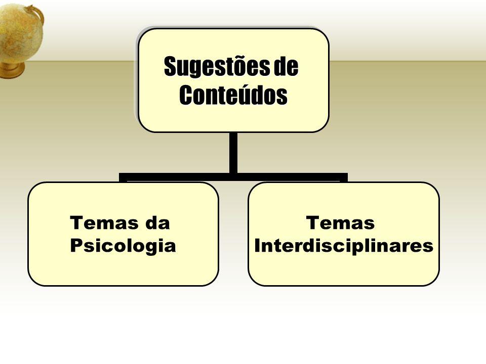 Sugestões de Conteúdos Temas da Psicologia Temas Interdisciplinares