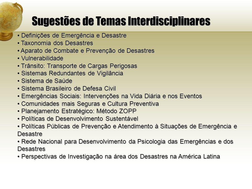 Sugestões de Temas Interdisciplinares Definições de Emergência e Desastre Definições de Emergência e Desastre Taxonomia dos Desastres Taxonomia dos De