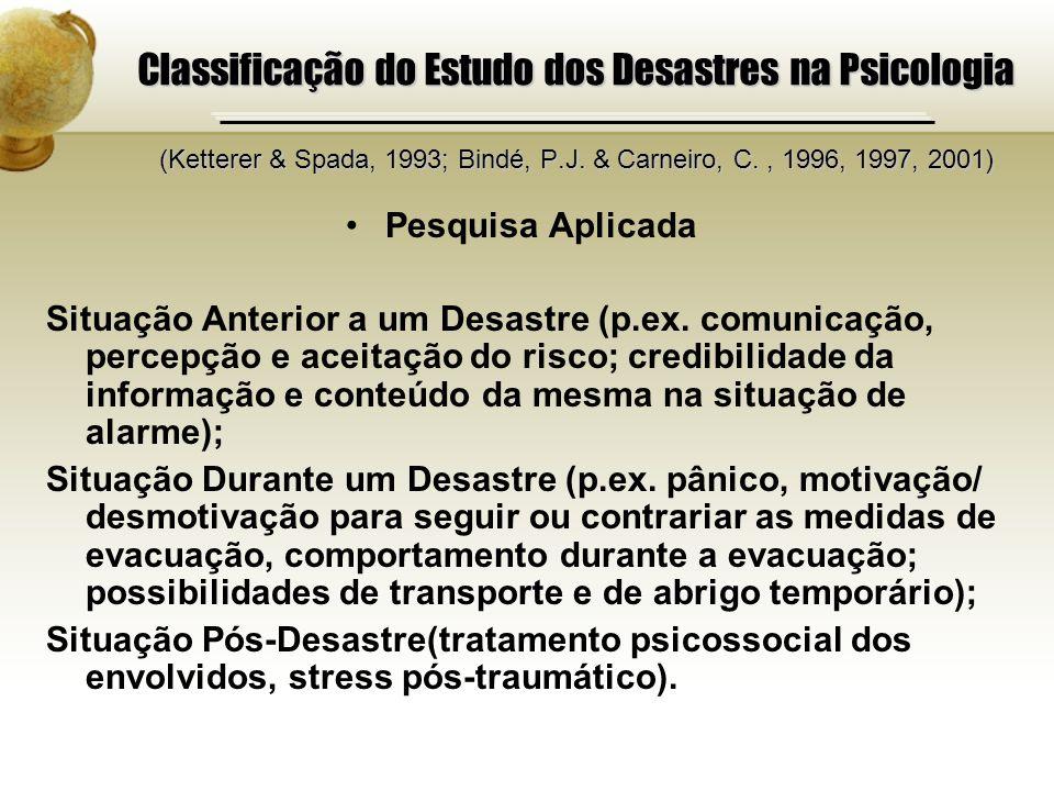 Classificação do Estudo dos Desastres na Psicologia (Ketterer & Spada, 1993; Bindé, P.J. & Carneiro, C., 1996, 1997, 2001) Pesquisa Aplicada Situação