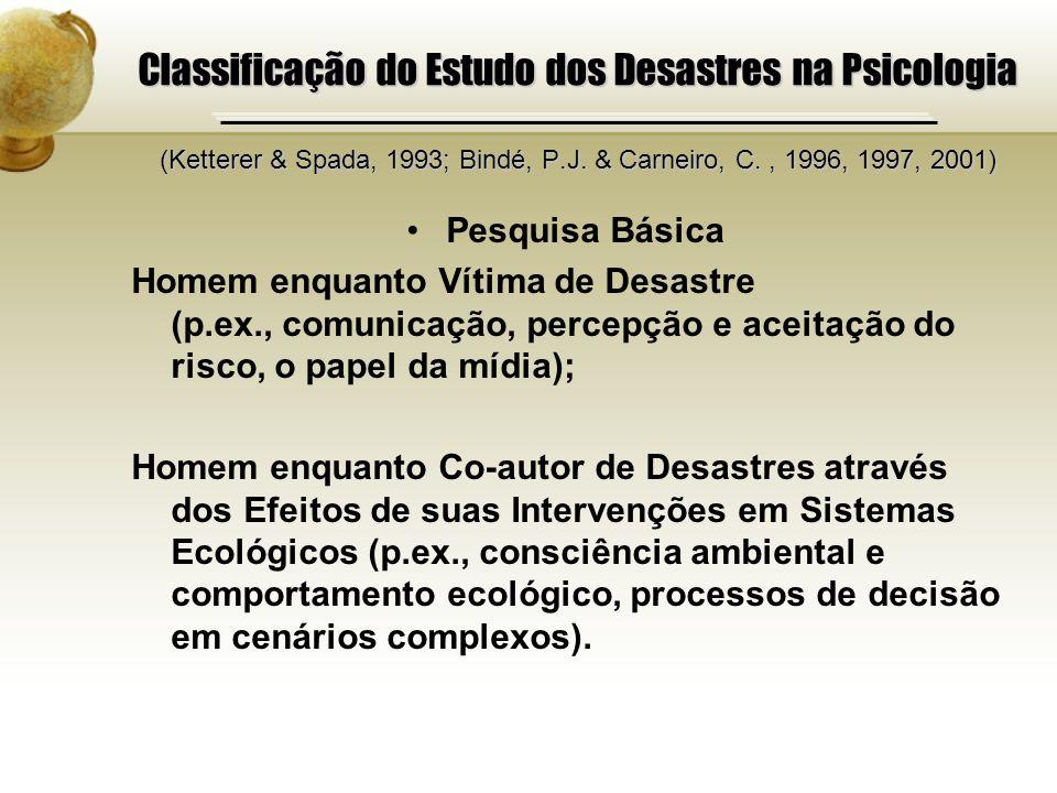 Classificação do Estudo dos Desastres na Psicologia (Ketterer & Spada, 1993; Bindé, P.J. & Carneiro, C., 1996, 1997, 2001) Pesquisa Básica Homem enqua