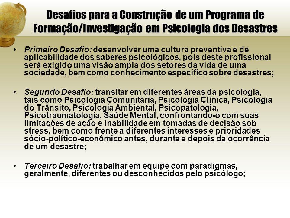 Desafios para a Construção de um Programa de Formação/Investigação em Psicologia dos Desastres Primeiro Desafio: desenvolver uma cultura preventiva e