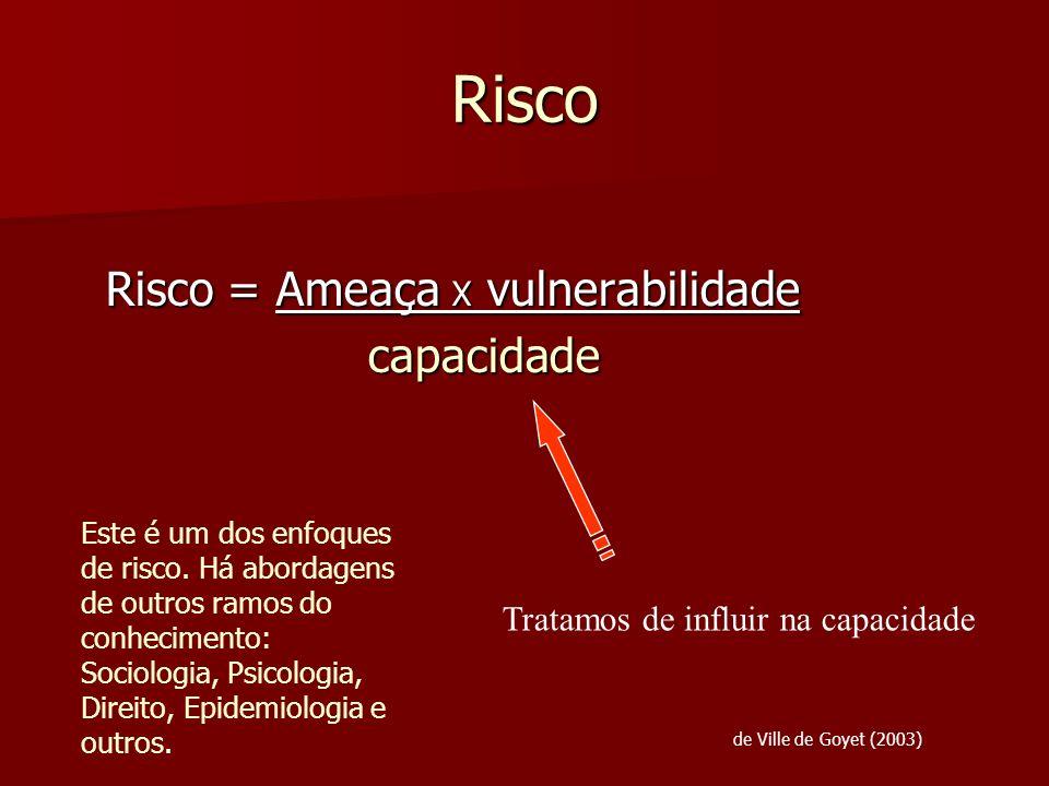 Risco Risco = Ameaça X vulnerabilidade capacidade capacidade Tratamos de influir na capacidade de Ville de Goyet (2003) Este é um dos enfoques de risc