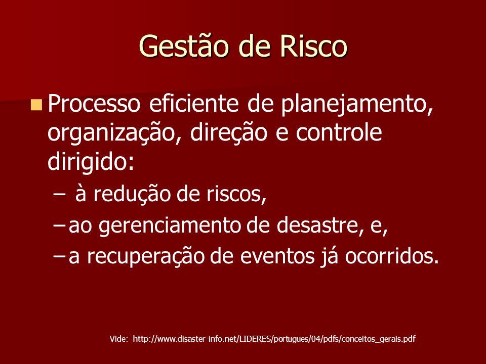 Gestão de Risco Processo eficiente de planejamento, organização, direção e controle dirigido: – – à redução de riscos, – –ao gerenciamento de desastre