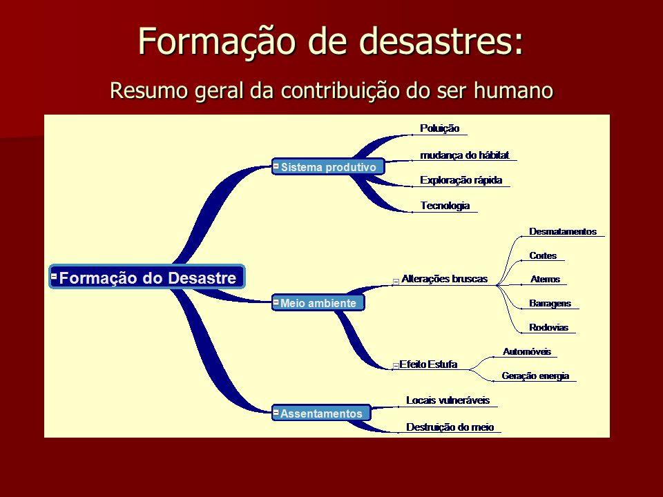 Formação de desastres: Resumo geral da contribuição do ser humano