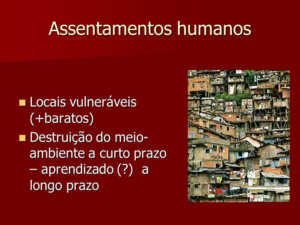 Assentamentos humanos Locais vulneráveis (+baratos) Locais vulneráveis (+baratos) Destruição do meio- ambiente a curto prazo – aprendizado (?) a longo