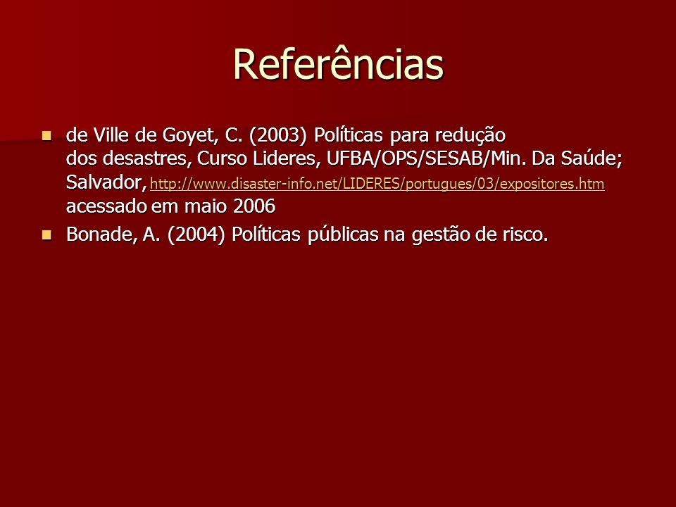 Referências de Ville de Goyet, C. (2003) Políticas para redução dos desastres, Curso Lideres, UFBA/OPS/SESAB/Min. Da Saúde; Salvador, http://www.disas