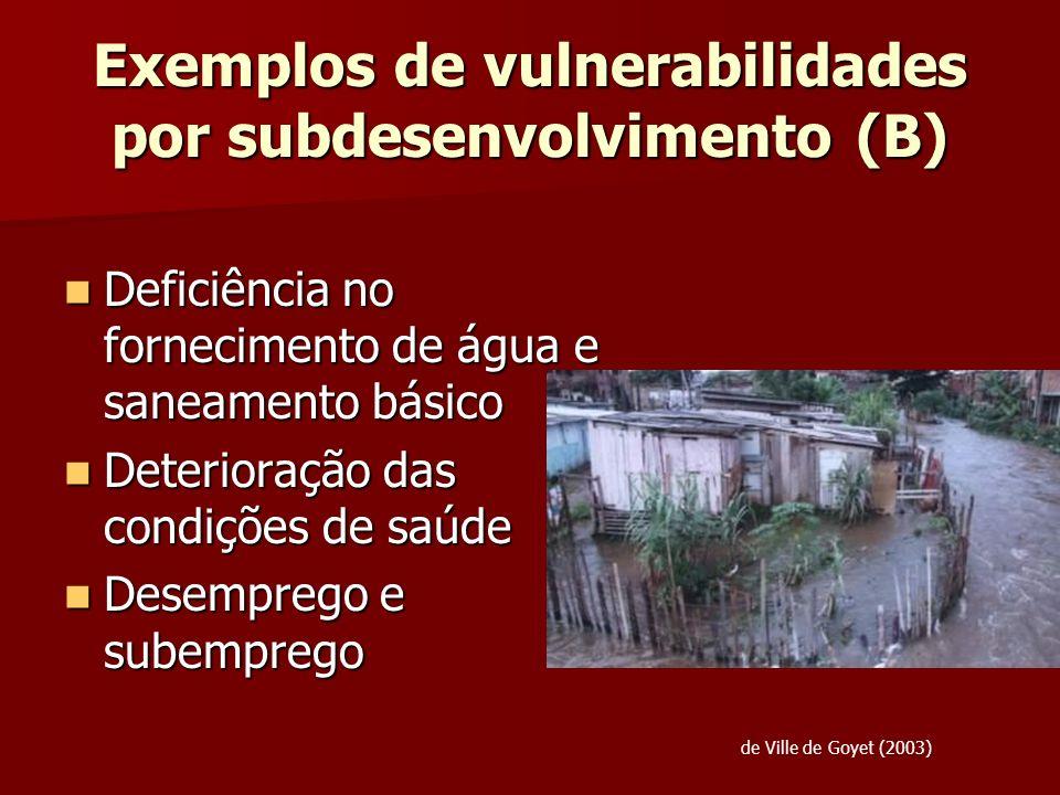 Exemplos de vulnerabilidades por subdesenvolvimento (B) Deficiência no fornecimento de água e saneamento básico Deficiência no fornecimento de água e
