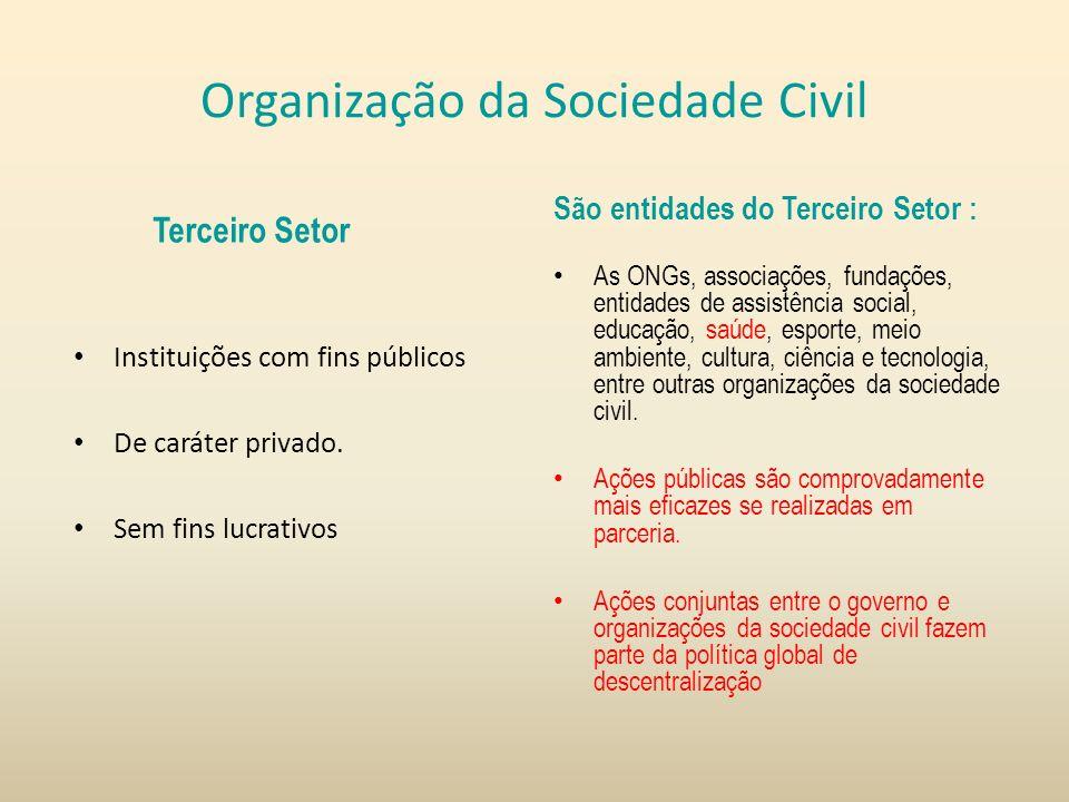 Organização da Sociedade Civil Terceiro Setor Instituições com fins públicos De caráter privado. Sem fins lucrativos São entidades do Terceiro Setor :