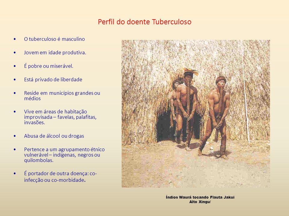 Perfil do doente Tuberculoso O tuberculoso é masculino Jovem em idade produtiva. É pobre ou miserável. Está privado de liberdade Reside em municípios