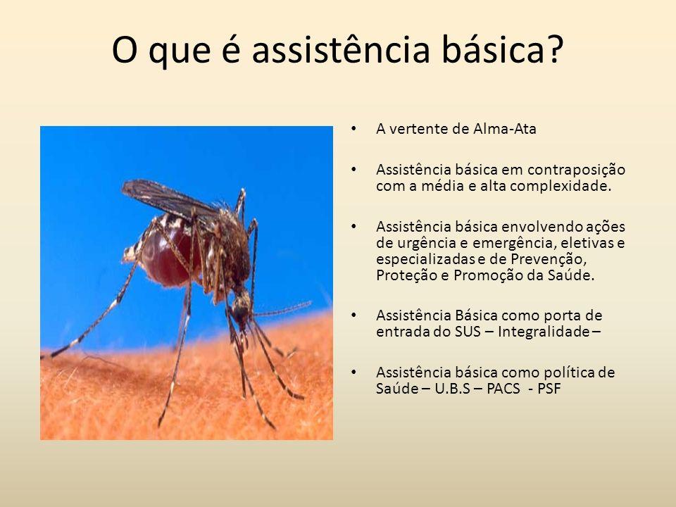 O que é assistência básica? A vertente de Alma-Ata Assistência básica em contraposição com a média e alta complexidade. Assistência básica envolvendo