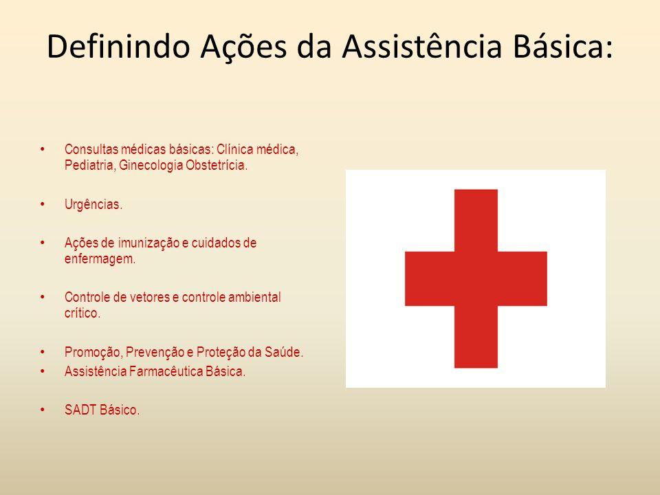 Definindo Ações da Assistência Básica: Consultas médicas básicas: Clínica médica, Pediatria, Ginecologia Obstetrícia. Urgências. Ações de imunização e