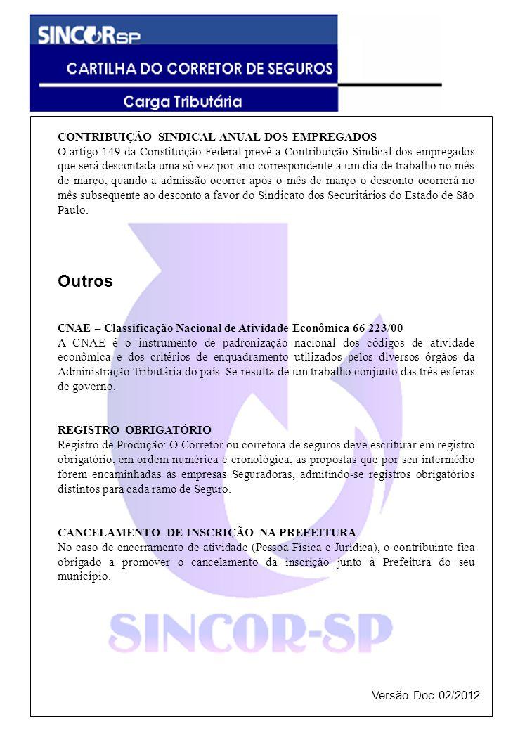 CONTRIBUIÇÃO SINDICAL ANUAL DOS EMPREGADOS O artigo 149 da Constituição Federal prevê a Contribuição Sindical dos empregados que será descontada uma só vez por ano correspondente a um dia de trabalho no mês de março, quando a admissão ocorrer após o mês de março o desconto ocorrerá no mês subsequente ao desconto a favor do Sindicato dos Securitários do Estado de São Paulo.