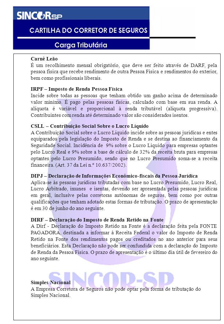 Carnê Leão É um recolhimento mensal obrigatório, que deve ser feito através de DARF, pela pessoa física que recebe rendimento de outra Pessoa Física e rendimentos do exterior, bem como profissionais liberais.