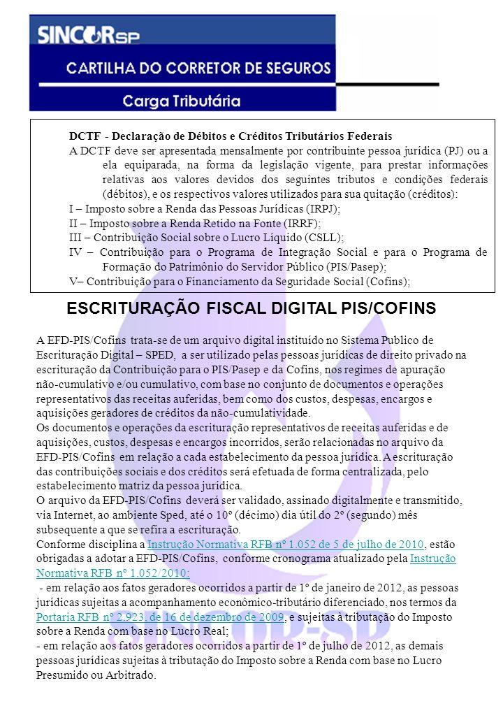 DCTF - Declaração de Débitos e Créditos Tributários Federais A DCTF deve ser apresentada mensalmente por contribuinte pessoa jurídica (PJ) ou a ela eq