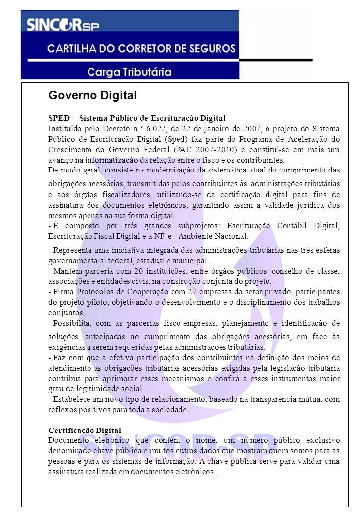 Governo Digital SPED – Sistema Público de Escrituração Digital Instituído pelo Decreto n º 6.022, de 22 de janeiro de 2007, o projeto do Sistema Públi