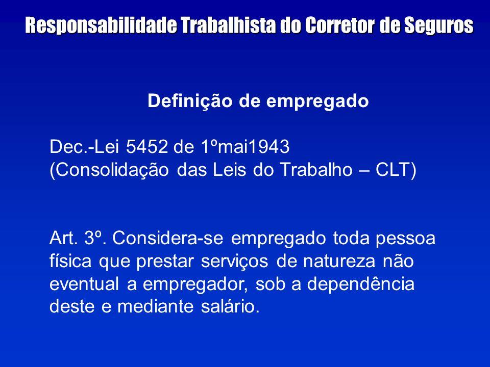 Definição de empregado Dec.-Lei 5452 de 1ºmai1943 (Consolidação das Leis do Trabalho – CLT) Art.