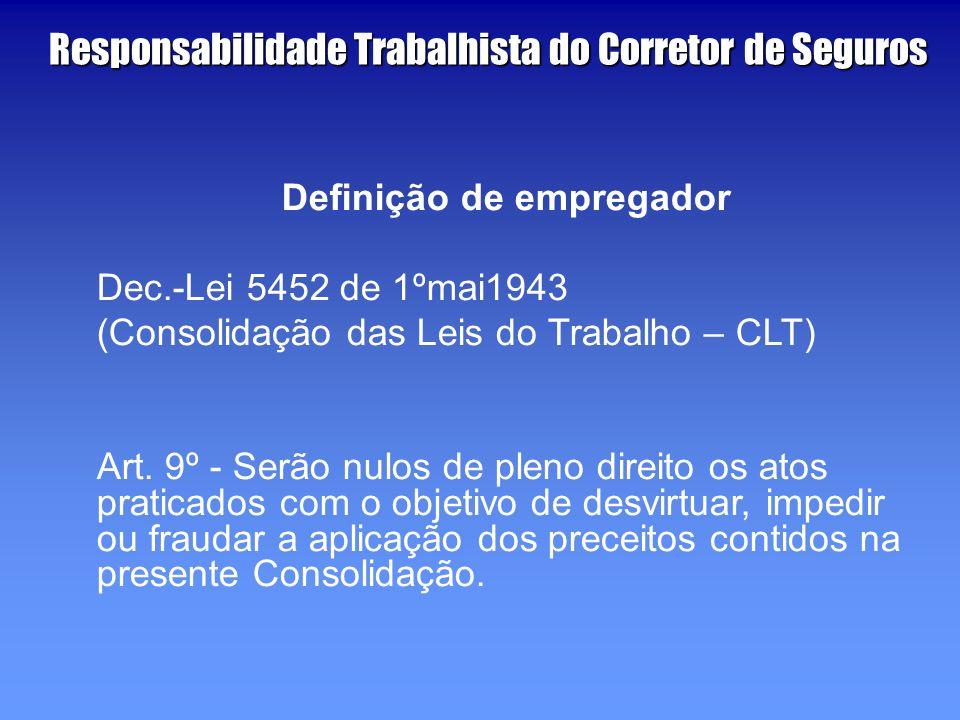 Definição de empregador Dec.-Lei 5452 de 1ºmai1943 (Consolidação das Leis do Trabalho – CLT) Art.