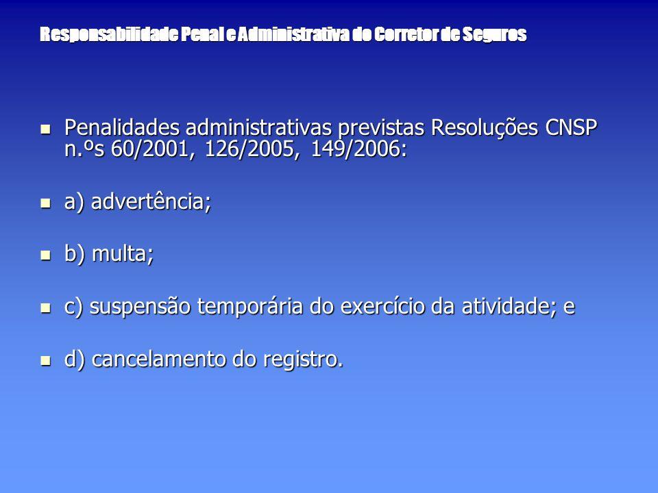 Responsabilidade Penal e Administrativa do Corretor de Seguros Penalidades administrativas previstas Resoluções CNSP n.ºs 60/2001, 126/2005, 149/2006: Penalidades administrativas previstas Resoluções CNSP n.ºs 60/2001, 126/2005, 149/2006: a) advertência; a) advertência; b) multa; b) multa; c) suspensão temporária do exercício da atividade; e c) suspensão temporária do exercício da atividade; e d) cancelamento do registro.