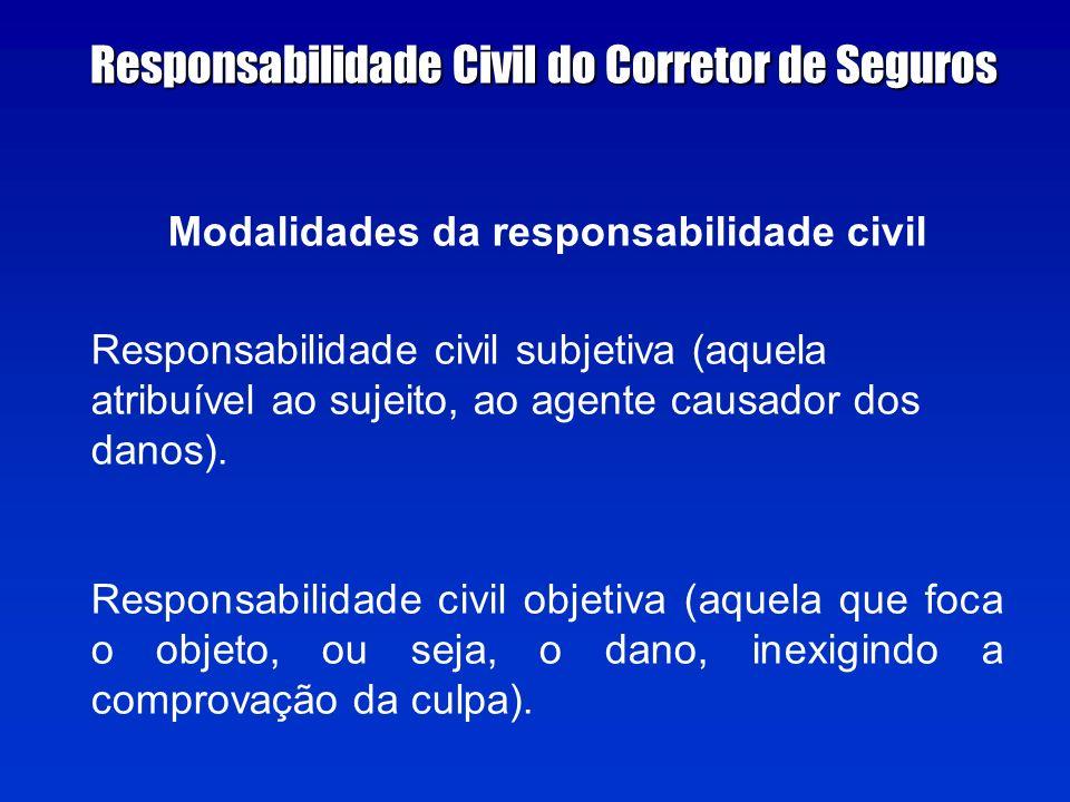 Modalidades da responsabilidade civil Responsabilidade civil subjetiva (aquela atribuível ao sujeito, ao agente causador dos danos).