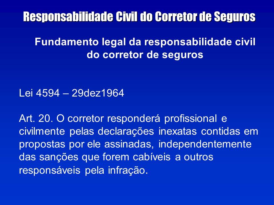 Fundamento legal da responsabilidade civil do corretor de seguros Lei 4594 – 29dez1964 Art.