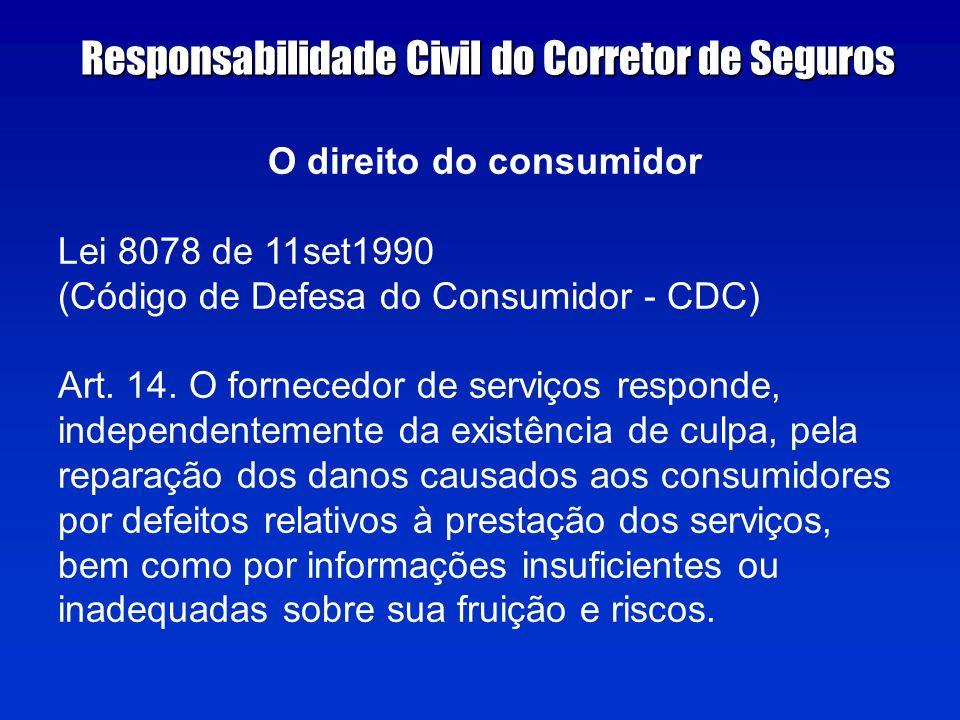 O direito do consumidor Lei 8078 de 11set1990 (Código de Defesa do Consumidor - CDC) Art.