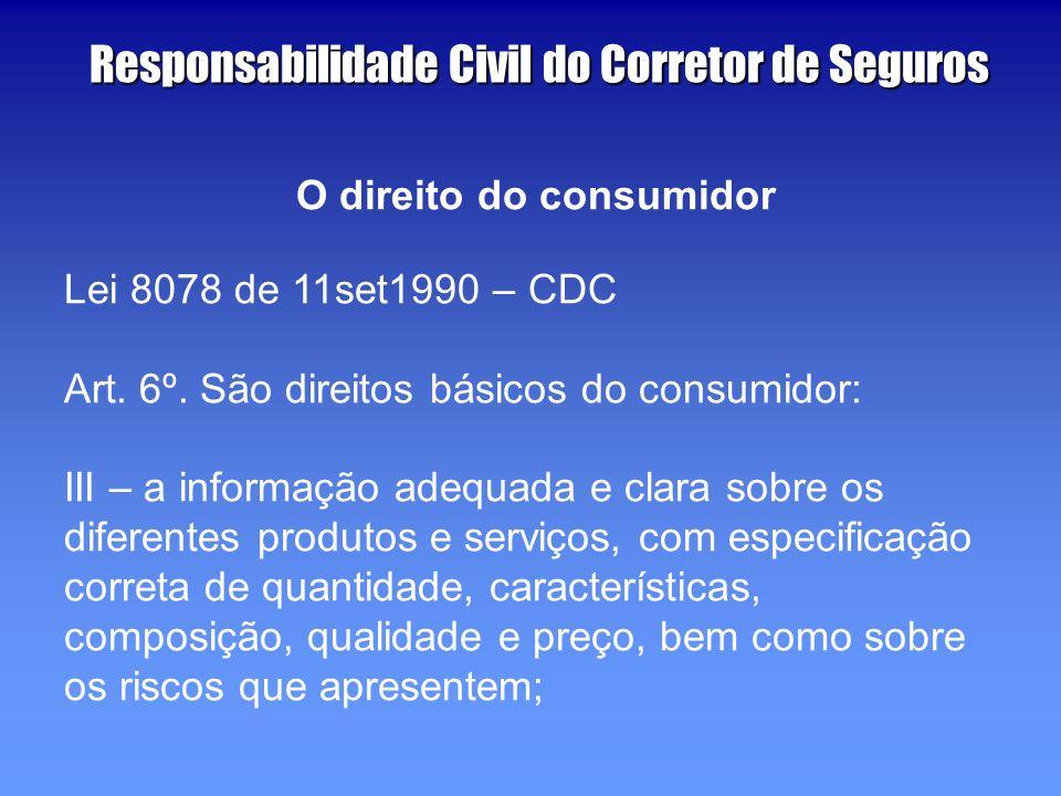 O direito do consumidor Lei 8078 de 11set1990 – CDC Art.