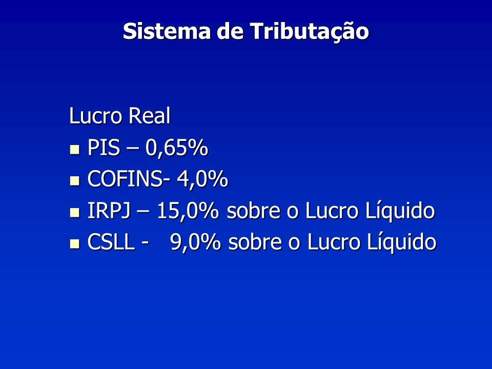 Lucro Real PIS – 0,65% PIS – 0,65% COFINS- 4,0% COFINS- 4,0% IRPJ – 15,0% sobre o Lucro Líquido IRPJ – 15,0% sobre o Lucro Líquido CSLL - 9,0% sobre o Lucro Líquido CSLL - 9,0% sobre o Lucro Líquido
