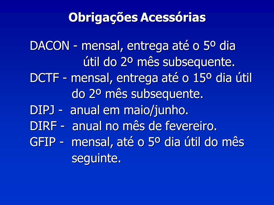 Obrigações Acessórias DACON - mensal, entrega até o 5º dia útil do 2º mês subsequente.