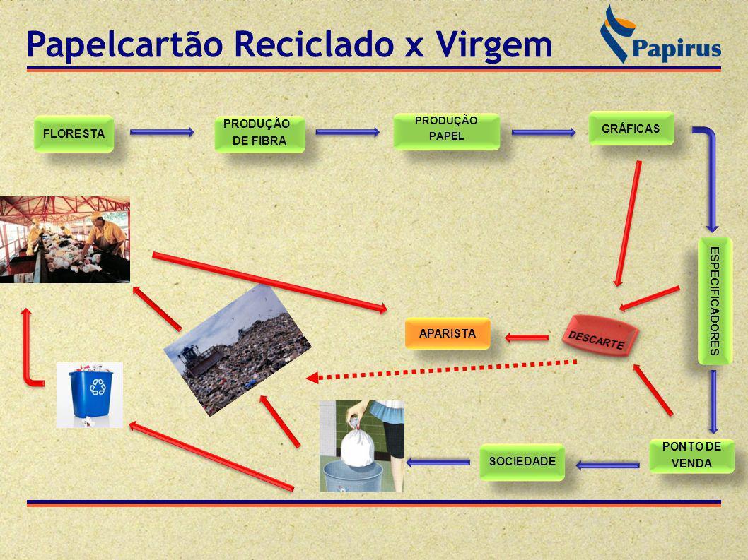 Papelcartão Reciclado x Virgem FLORESTA PRODUÇÃO DE FIBRA PRODUÇÃO DE FIBRA PRODUÇÃO PAPEL PRODUÇÃO PAPEL GRÁFICAS ESPECIFICADORES PONTO DE VENDA PONT