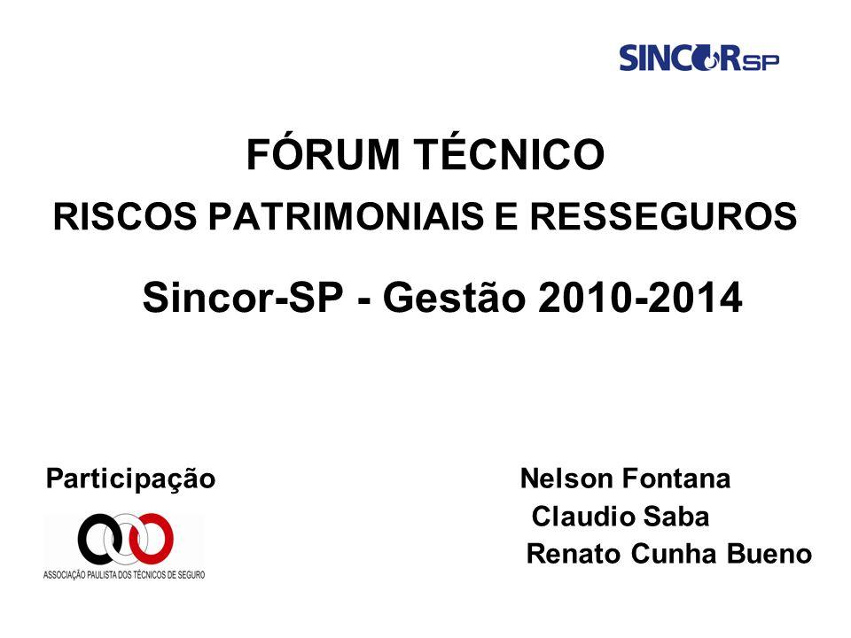 FÓRUM TÉCNICO RISCOS PATRIMONIAIS E RESSEGUROS Participação Nelson Fontana Claudio Saba Renato Cunha Bueno Sincor-SP - Gestão 2010-2014
