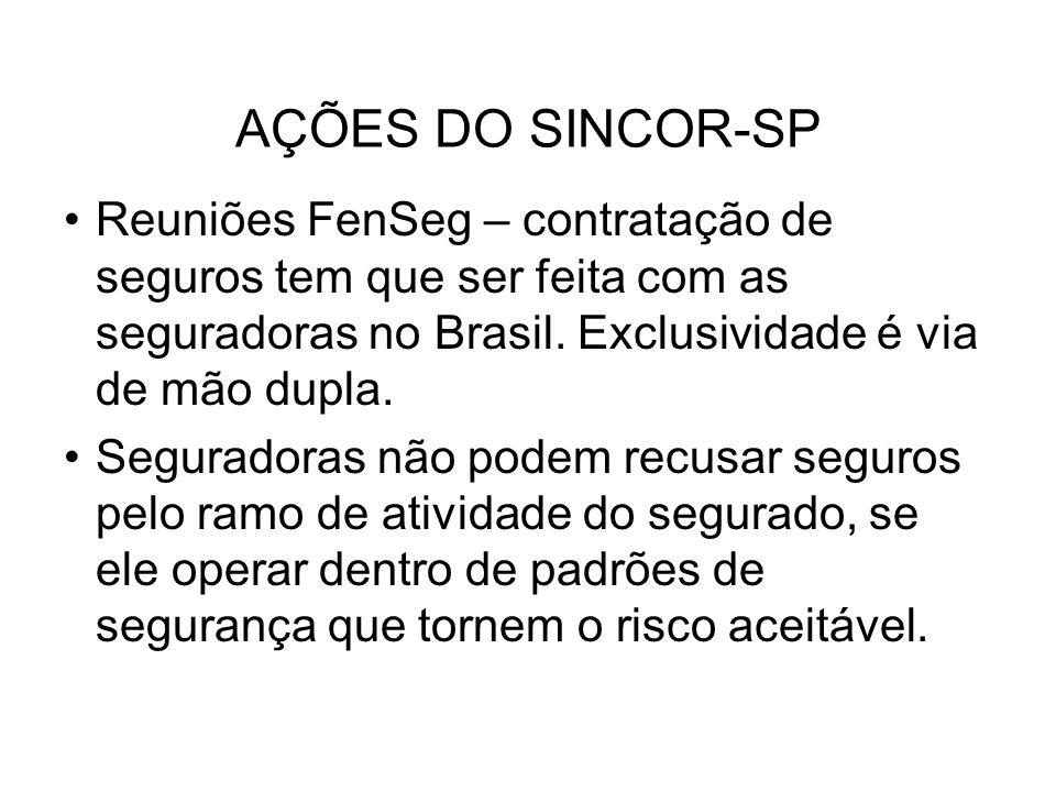 AÇÕES DO SINCOR-SP Reuniões FenSeg – contratação de seguros tem que ser feita com as seguradoras no Brasil. Exclusividade é via de mão dupla. Segurado