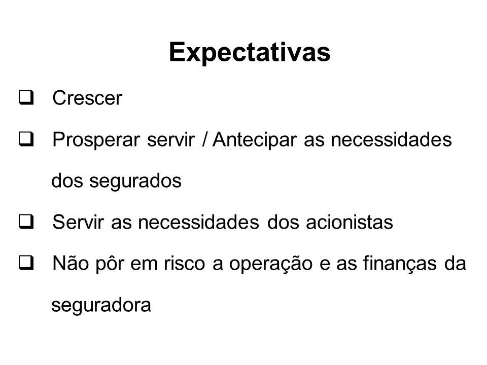 Expectativas Crescer Prosperar servir / Antecipar as necessidades dos segurados Servir as necessidades dos acionistas Não pôr em risco a operação e as