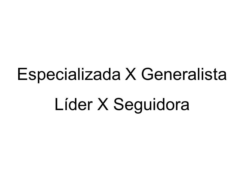 Especializada X Generalista Líder X Seguidora