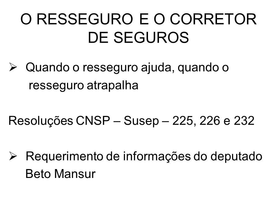 O RESSEGURO E O CORRETOR DE SEGUROS Quando o resseguro ajuda, quando o resseguro atrapalha Resoluções CNSP – Susep – 225, 226 e 232 Requerimento de in