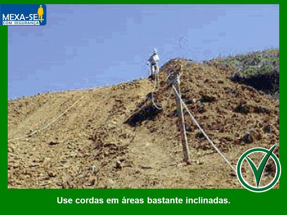 Use cordas em áreas bastante inclinadas.