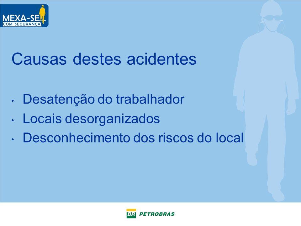 Causas destes acidentes Desatenção do trabalhador Locais desorganizados Desconhecimento dos riscos do local