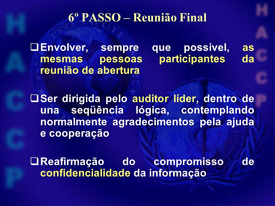 6º PASSO – Reunião Final Envolver, sempre que possivel, as mesmas pessoas participantes da reunião de abertura Ser dirigida pelo auditor líder, dentro