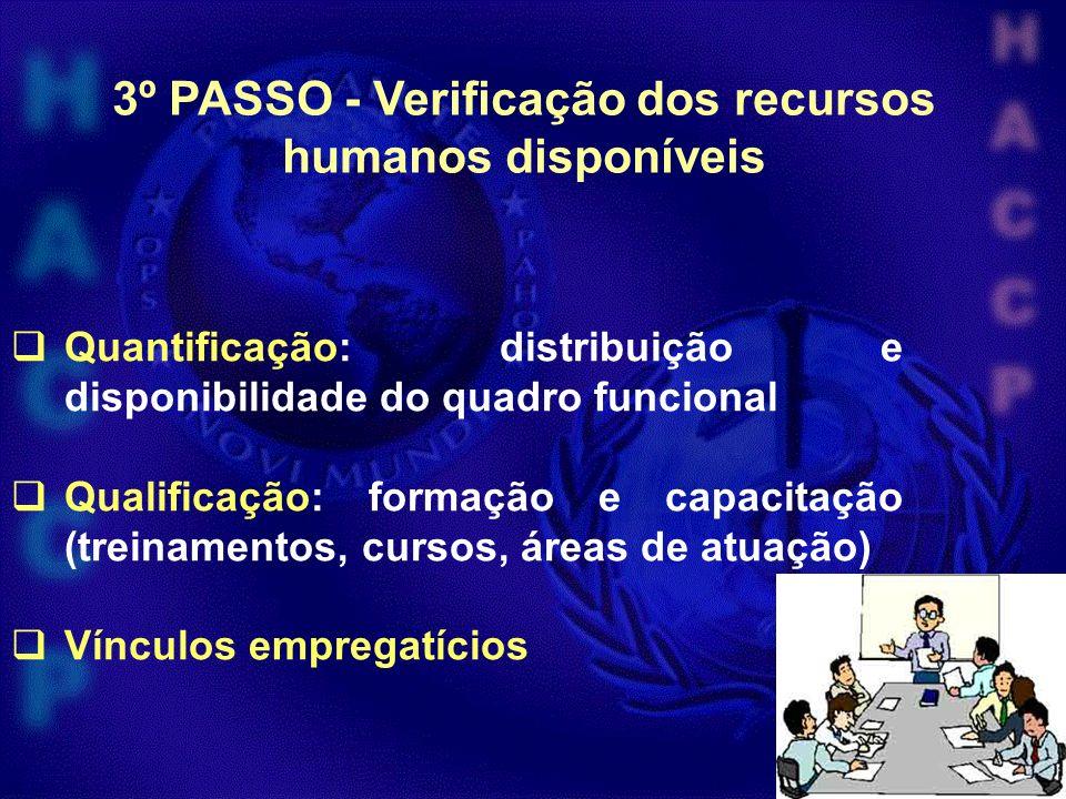 3º PASSO - Verificação dos recursos humanos disponíveis Quantificação: distribuição e disponibilidade do quadro funcional Qualificação: formação e cap