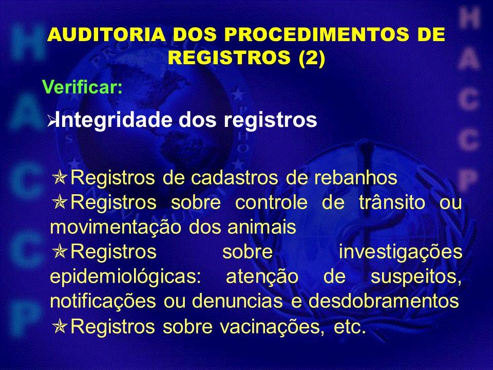 AUDITORIA DOS PROCEDIMENTOS DE REGISTROS (2) Verificar: Integridade dos registros Registros de cadastros de rebanhos Registros sobre controle de trâns
