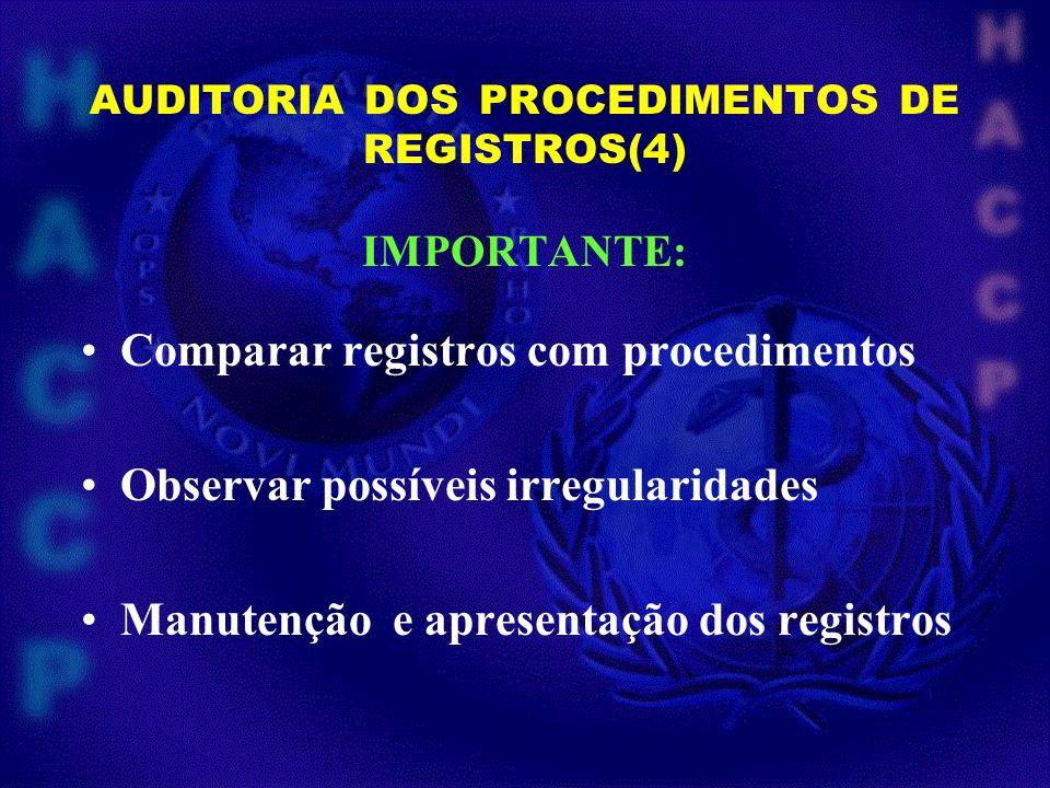 AUDITORIA DOS PROCEDIMENTOS DE REGISTROS (5) IMPORTANTE OBSERVAR : Inexistencia de registros Registro não documenta a atividade Registro ilegível ou incompreensível Data e assinatura