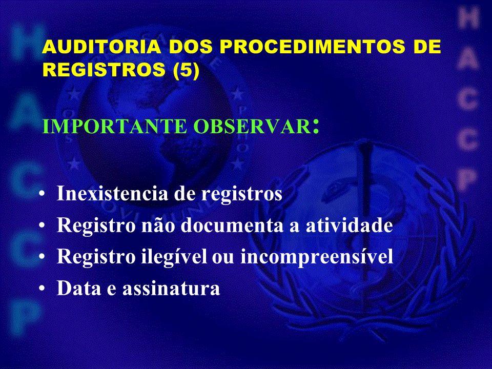 AUDITORIA DOS PROCEDIMENTOS DE REGISTROS (5) IMPORTANTE OBSERVAR : Inexistencia de registros Registro não documenta a atividade Registro ilegível ou i
