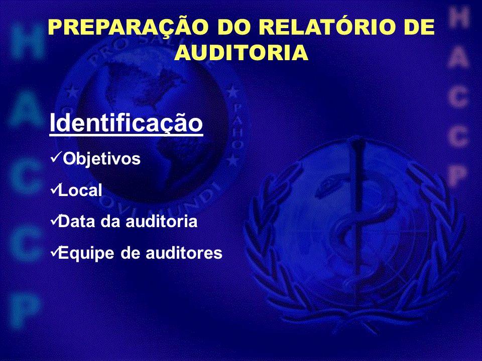 PREPARAÇÃO DO RELATÓRIO DE AUDITORIA Identificação Objetivos Local Data da auditoria Equipe de auditores