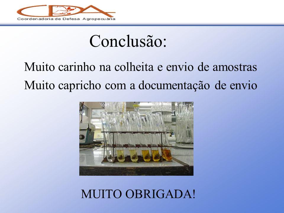 Conclusão: Muito carinho na colheita e envio de amostras Muito capricho com a documentação de envio MUITO OBRIGADA!