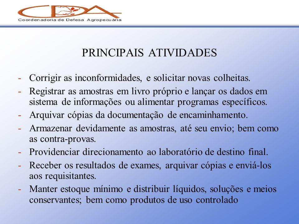 PRINCIPAIS ATIVIDADES -Corrigir as inconformidades, e solicitar novas colheitas. -Registrar as amostras em livro próprio e lançar os dados em sistema