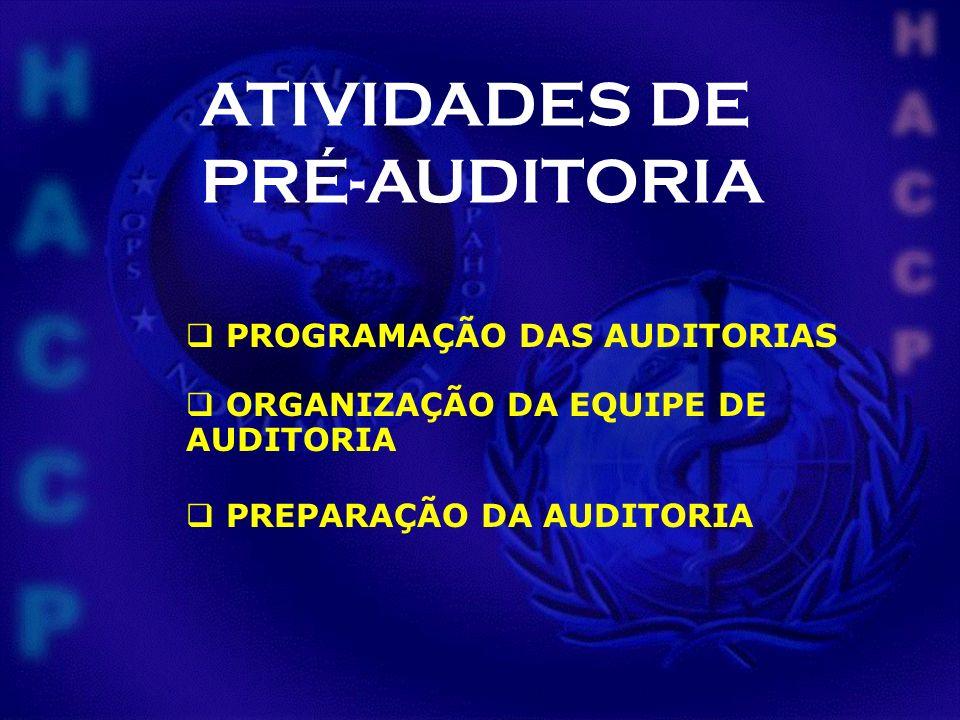 ATIVIDADES DE PRÉ-AUDITORIA PROGRAMAÇÃO DAS AUDITORIAS ORGANIZAÇÃO DA EQUIPE DE AUDITORIA PREPARAÇÃO DA AUDITORIA
