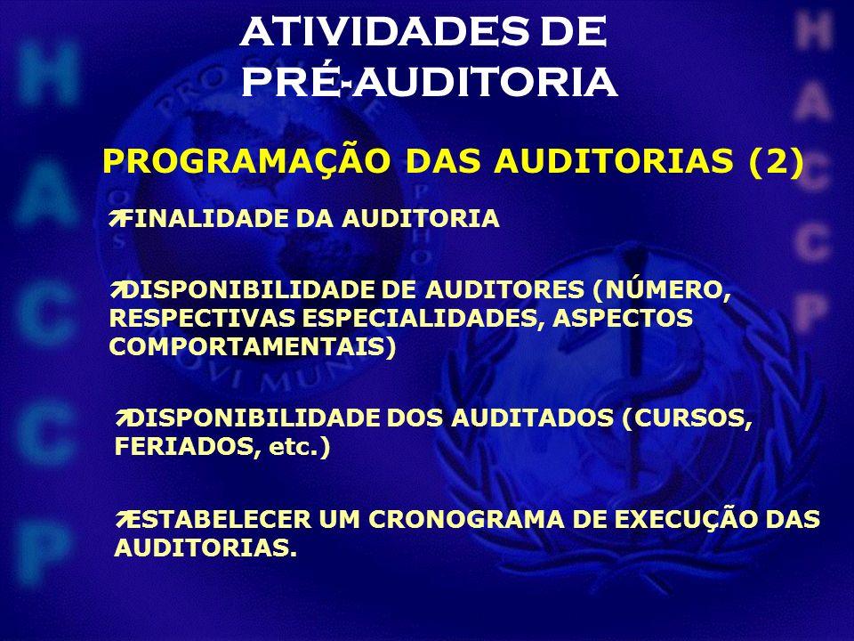 ATIVIDADES DE PRÉ-AUDITORIA ìFINALIDADE DA AUDITORIA ìDISPONIBILIDADE DE AUDITORES (NÚMERO, RESPECTIVAS ESPECIALIDADES, ASPECTOS COMPORTAMENTAIS) ìDIS