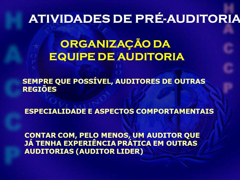 ORGANIZAÇÃO DA EQUIPE DE AUDITORIA SEMPRE QUE POSSÍVEL, AUDITORES DE OUTRAS REGIÕES ESPECIALIDADE E ASPECTOS COMPORTAMENTAIS CONTAR COM, PELO MENOS, U