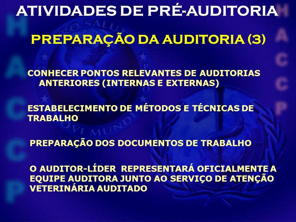 PREPARAÇÃO DA AUDITORIA (3) CONHECER PONTOS RELEVANTES DE AUDITORIAS ANTERIORES (INTERNAS E EXTERNAS) ESTABELECIMENTO DE MÉTODOS E TÉCNICAS DE TRABALH
