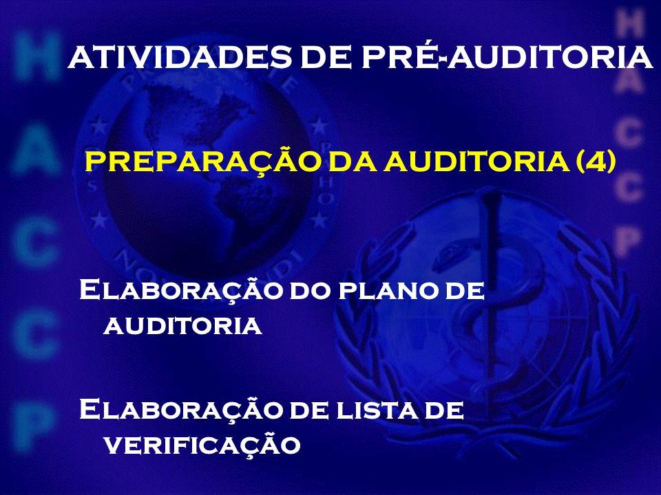 PREPARAÇÃO DA AUDITORIA (4) Elaboração do plano de auditoria Elaboração de lista de verificação ATIVIDADES DE PRÉ-AUDITORIA