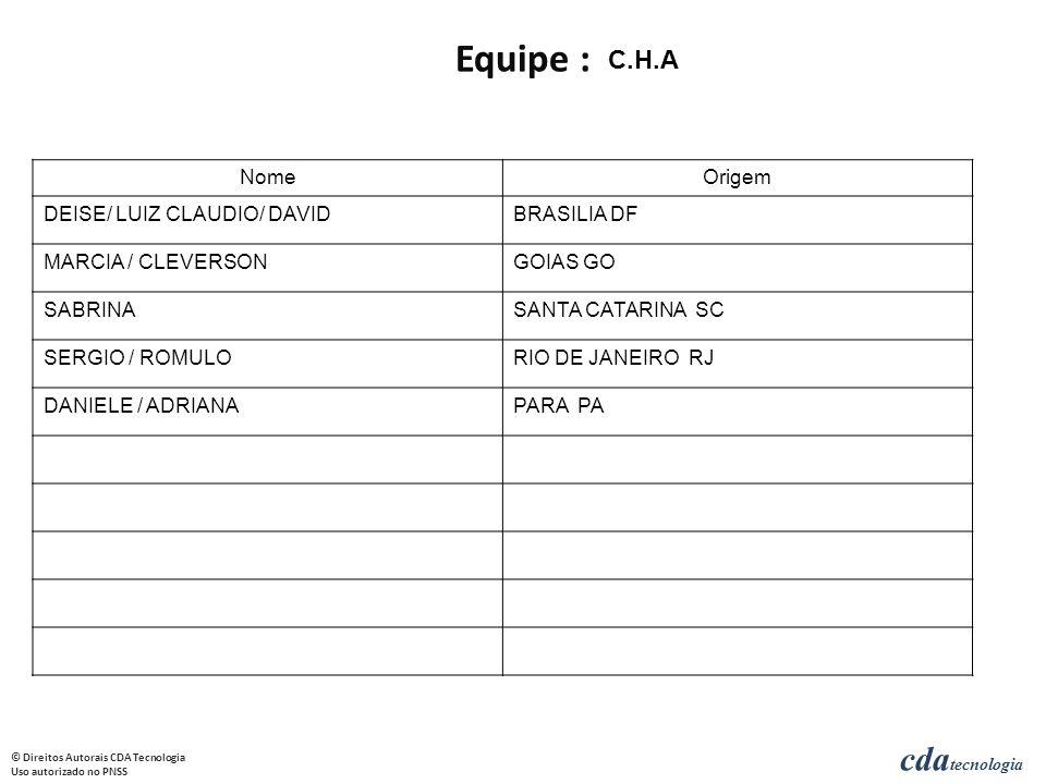 cda tecnologia © Direitos Autorais CDA Tecnologia Uso autorizado no PNSS NomeOrigem DEISE/ LUIZ CLAUDIO/ DAVIDBRASILIA DF MARCIA / CLEVERSONGOIAS GO SABRINASANTA CATARINA SC SERGIO / ROMULORIO DE JANEIRO RJ DANIELE / ADRIANAPARA PA C.H.A